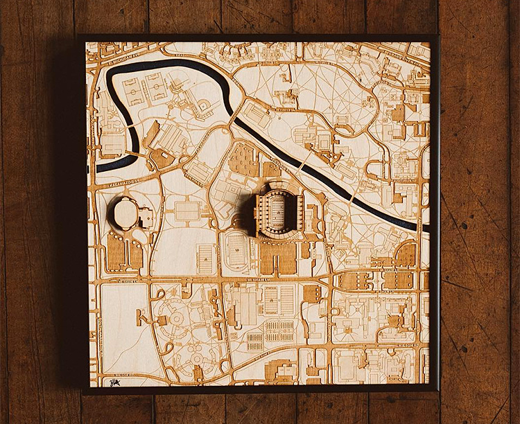 These Laser Cut Wood Maps Show Your Team's Stadium In 3-D
